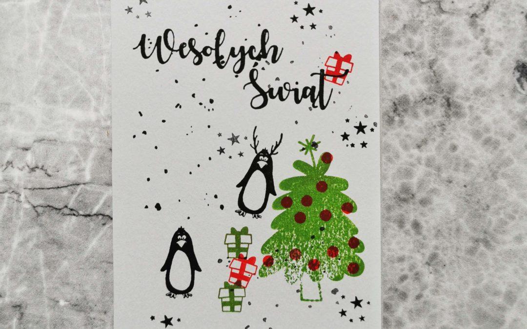 Kartka Świąteczna z Pingwinami